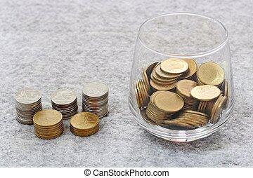crecer, dinero, moneda, pila, vidrio