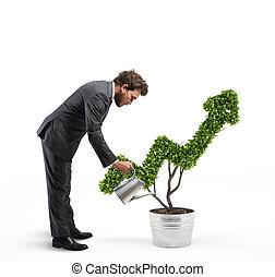 crecer, el, economía, compañía, ., 3d, interpretación