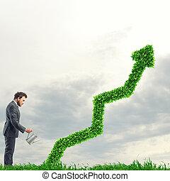 crecer, el, economía, compañía