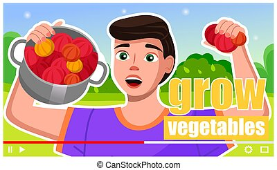 crecer, interfaz, vídeo, agronomist, jugador, vegetales, creativo, granjero, blogger, preceptoral, diy