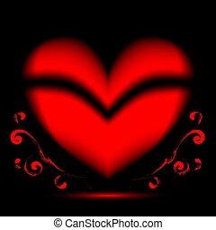 crecer, plano de fondo, corazón negro, curlicues, rojo