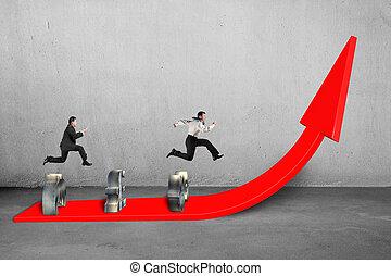 crecer, rojo, hombres de negocios, flecha, competir
