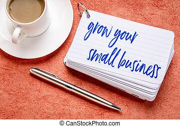 crecido, empresa / negocio, pequeño, su