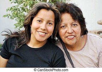 crecido, hija, hispano, medio, madre, viejo