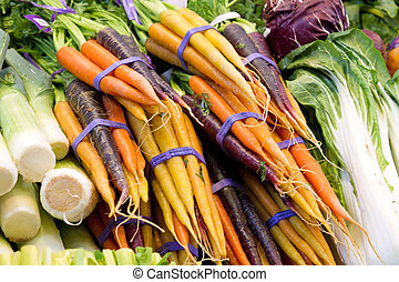 crecido, vegetal, organically, zanahorias