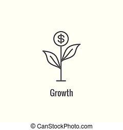 crecimiento, actuación, valorar, valorar, icono, competitivo, aspecto, rentabilidad, valor