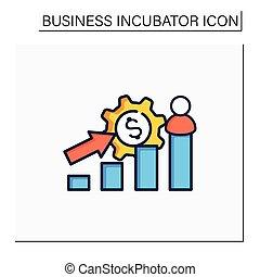 crecimiento, color, icono, empresa / negocio