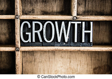 crecimiento, concepto, metal, texto impreso, palabra, en,...