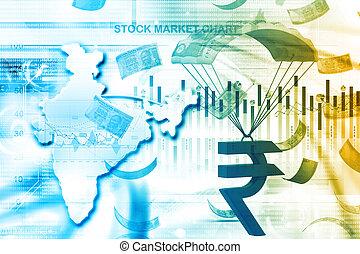 crecimiento financiero, concepto, de, india