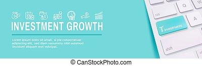 crecimiento, icono, etc, símbolos, conjunto, dólar, -, inversiones, banca
