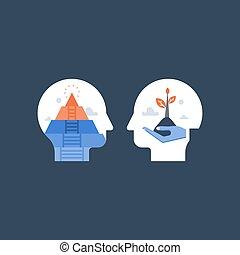 crecimiento, mindfulness, salud mental, meditación, potencial, confianza, estima, concepto, positivo, sí mismo, mindset, desarrollo