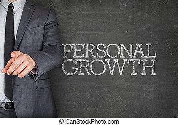 crecimiento personal, en, pizarra, con, hombre de negocios