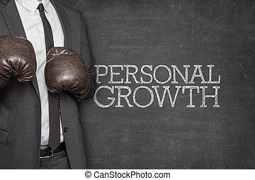 crecimiento personal, en, pizarra, con, hombre de negocios, en, lado
