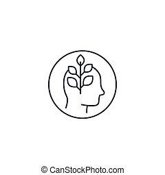 crecimiento, personal, icono, línea