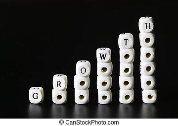 crecimiento, texto, carta