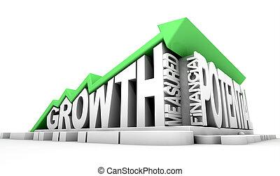 crecimiento, texto, y, flecha
