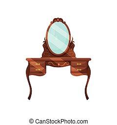 credenza, con, ovale, specchio, e, shelves., legno, abbigliamento, tavola., classico, mobilia, per, bedroom., appartamento, vettore, disegno