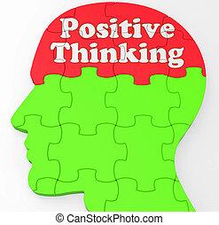 credenza, pensare, positivo, mente, ottimismo, o, mostra