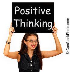 credenza, pensare, positivo, ottimismo, segno, o, mostra