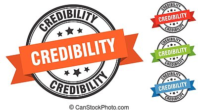 credibility stamp. round band sign set. label