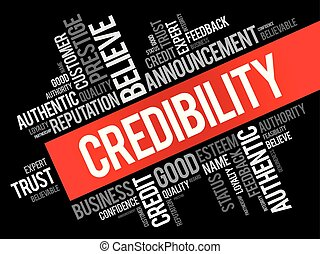 Credibility word cloud collage, business concept backgroun