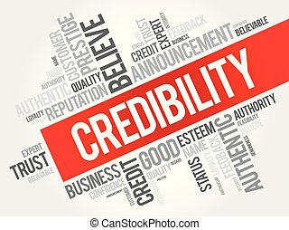 Credibility word cloud collage, business concept background