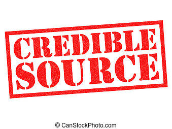 CREDIBLE SOURCE red Rubber Stamp over a white background.
