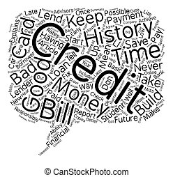 Credit 101 text background wordcloud concept