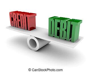 Credit and Debit balance. Concept 3D illustration.