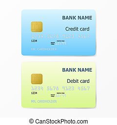 Credit and Debit card template on white background eps10...