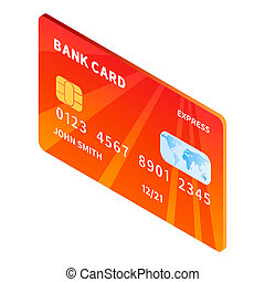 Credit bank card icon, isometric style