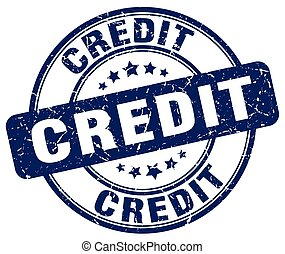 credit blue grunge round vintage rubber stamp