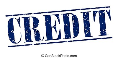 credit blue grunge vintage stamp isolated on white background