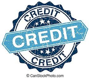 credit blue round grunge stamp on white