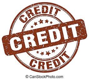 credit brown grunge round vintage rubber stamp