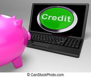 Credit Button On Laptop Shows Financial Loan