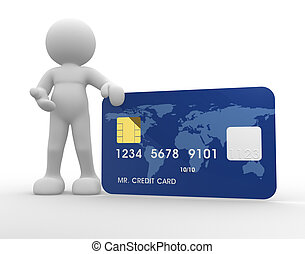 Credit card - 3d people icon with a credit card on a white ...