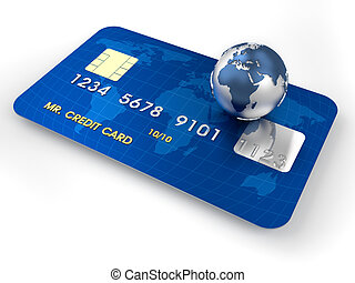 3d render illustration of conceptual credit card over white
