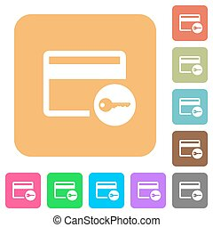 Credit card access rounded square flat icons