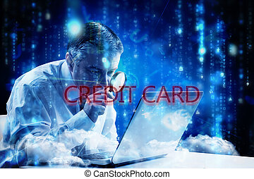 Credit card against lines of blue blurred letters falling -...