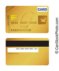 An illustration of a gold credit card. Vector file available