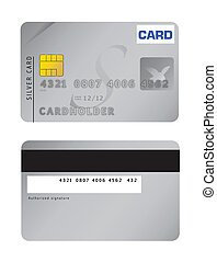 An illustration of a silver credit card. Vector file available