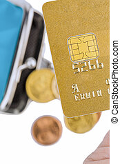 credit card and empty wallet clut ¶ rse - a gold credit...