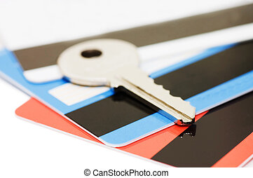 credit card and keys - security concept