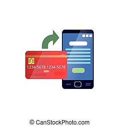 Credit card and mobile phone showing payment process of goods on website. Online bill pay concept. Modern banking technologies. Flat vector icon