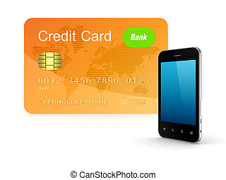 Credit card and modern mobile phone.