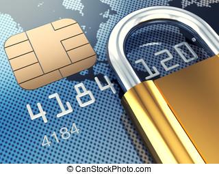 Credit card and padlock, 3d illustration