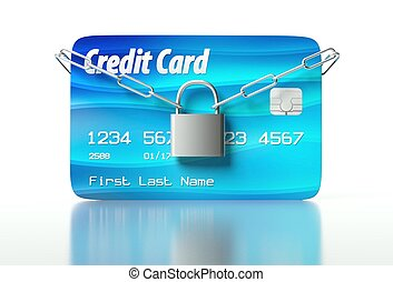 Credit card and padlock, concept of security - Credit card...