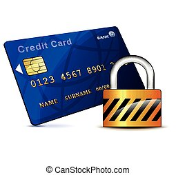 credit card and padlock icon - Illustration of credit card...