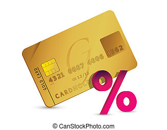 credit card and percent sign